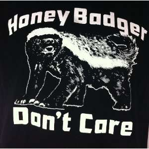 Badger Dont Care T shirt Funny Web You Tube Animal Black Tee Large