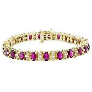 14K Yellow Gold Ruby and Diamond Bracelet Jewelry