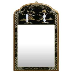 Chinese Style Beveled Glass Wall Mirror   Black Lacquer