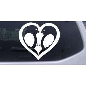 White 14in X 7.0in    Lovebirds Kissing In Heart Animals