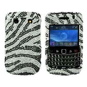 for Blackberry Bold 9700 Bling Hard Case Silver Zebra