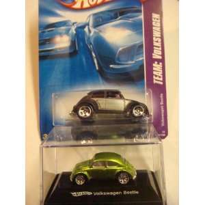 Hot Wheels Vw Beetle Set: Black #129 1/64 & The Metallic