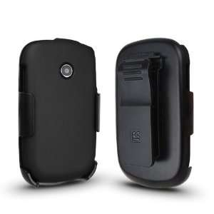 LG 800G (3in1) Screen Guard Holster Case Combo w/ Kickstand   Black