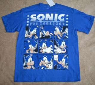 SONIC The Hedgehog X *Squares* Blue Tee T Shirt sz 7/8