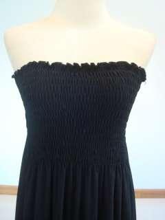 New Black Smock Tie Back Long Maxi Dress Sz L XL 12 14
