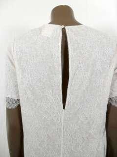 Chloe womens ecru ivory lace trim s/s dress S $1295 New