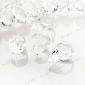 10 White Faceted Teardrop Crystal Glass Bead Drop Pendant 12x8mm