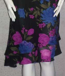 Scene Donna Ricco Black Floral print Dress M 8 10 euc