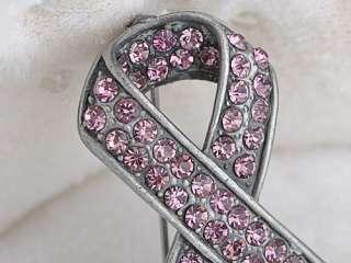 Light Rose Pink Crystal Rhinestone Breast Cancer Awareness Ribbon Pin
