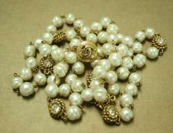 CHANEL Classic Long Pearl Necklace Rhinestone Sautoir Vintage 118cm