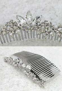 CLEAR CRYSTAL BIG HAIR COMB 4 BRIDAL BRIDESMAID WEDDING PARTY Q365