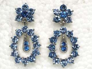 BLUE RHINESTONE CRYSTAL DANGLING PIERCED EARRINGS Z60