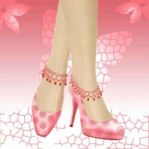 PINK BEADED FLOWER STRETCHABLE BAREFOOT ANKLET HANDMADE