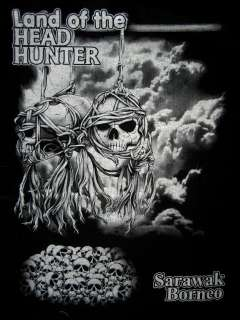 14# Dayaks trophy skull tattoo T shirt Sarawak Borneo