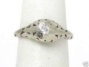 ANTIQUE VINTAGE 14K WHITE GOLD & DIAMOND ORNATE RING