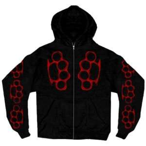Hot Leathers Black Large Bloody Knuckles Zip Hoodie