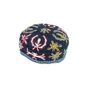 60cm Dark Blue Bukharian Kippah with Floral Pattern