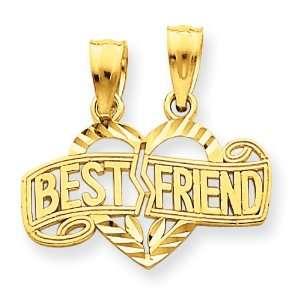 14k Best Friends Diamond Cut Heart Break Apart Pendants