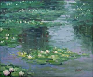 Framed Hand Painted Oil Painting Repro Claude Monet Water Lily Pond