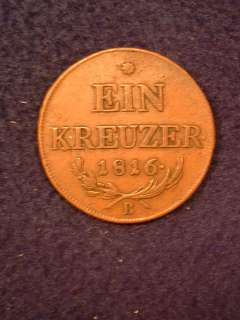 Extra Fine 1816 B Ein Kreuzer copper Austrian coin. Nice detail and