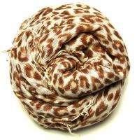 New $245 Chan Luu Leopard Print Cashmere & Silk Scarf Tortoise Combo