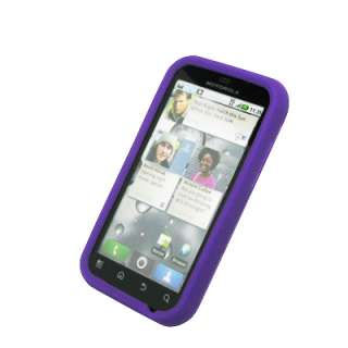 for Motorola Defy Purple Silicone Case+Car Charger+USB 738435508463