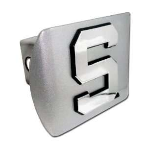 Spartans Brushed Silver with Chrome Block S Emblem NCAA College