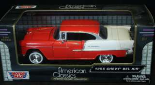 NEW ~ MOTOR MAX 1955 Chevy Bel Air Red White 1:24 AMERICAN CLASSICS