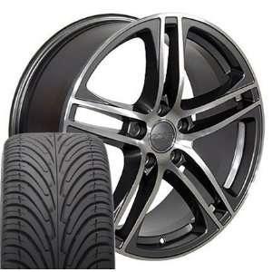 17 Fits Audi   R8 Style wheels tires   Gunmetal 17x7.5