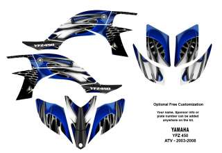 YAMAHA YFZ450 Atv Quad Graphic Decal Kit #4444 Blue