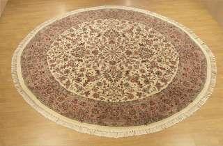 Beautiful Handmade Round Oriental Rug Wool & Silk Tabriz Rug