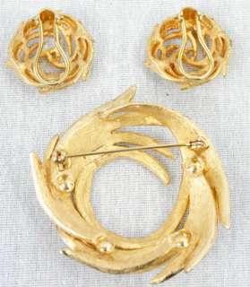 Vintage BSK Eames Era Matched SET Pin Brooch & Earrings