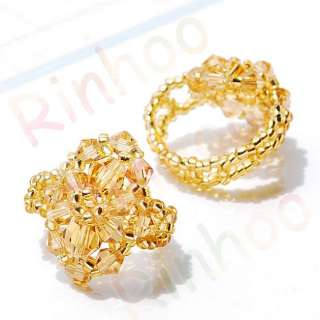 Free yellow rings #6 9 crystal glass beads 10pcs