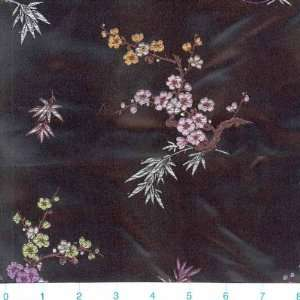 Oriental Brocade Cherry Blossom Pink/Black Fabric By The Yard Arts