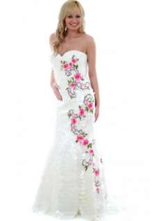 Sherri Hill White Petals & Roses Ball Gown Style 2258