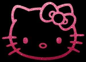 HELLO KITTY PINK GLITTER 23 inch Auto Car Truck Window Sticker Decals