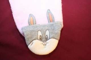 GUC 6 9M Baby Looney Tunes Bugs Bunny Fleece Hooded 2pc Bunting Romper