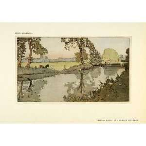 Artwork Wiston River Landscape   Original Color Print