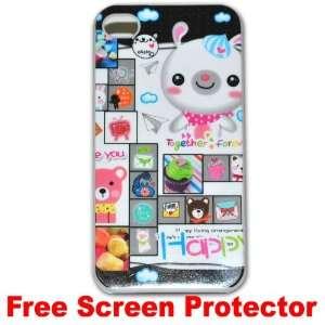 Cute Cartoon Case Bear Hard Case Cover for Iphone 4g   C + Free Screen