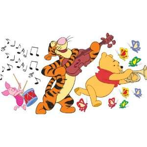 Winnie the Pooh, Tigger, and Piglet playing music with butterflies and