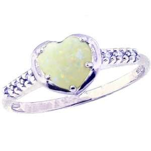 14K White Gold Heart Gemstone and Diamond Promise Ring Opal