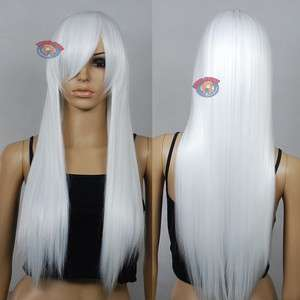 28 inch Hi_Temp Series White Long Cosplay DNA Wigs 761001