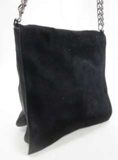 AUTH PRADA Black Pony Skin Leather Shoulder Handbag