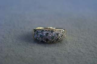 WOW SILVER GOLD EMERALD DIAMOND CIGAR BOLD BAND RING 7