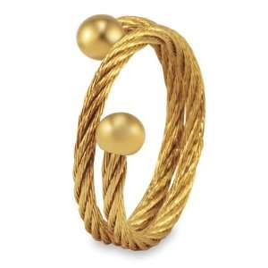 Stainless Steel Gold Tone Twisted Cable Ring   Size 6.0
