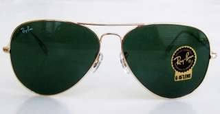 RAY BAN Aviator Sunglasses RB3025 L0205 Green Crystal LARGE 62mm NEW