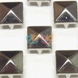 50CS 12MM Pyramid Studs Spot Nickel Punk Rock Design Spikes Heavy Duty