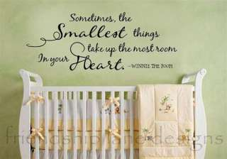 SMALLEST THINGS vinyl wall quote/decal/words BABY & NURSERY