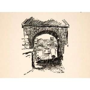 Spain Gateway Archway Caswell Cityscape Art   Relief Line block Print