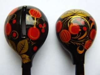 USSR RUSSIA Khokhloma Hand Made 2 Spoons FOLK ART SOVIET PAINTED WOOD